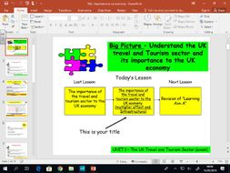 Travel and Tourism BTEC first level 2 - UNIT 1 - lesson 7&8 - Importance to UK Economy