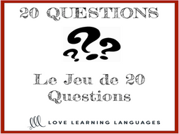 French 20 questions games - Small group or whole class no prep activities