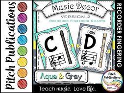 Recorder Fingering Chart Posters v2 Black/Tan- Music Decor Aqua Gray