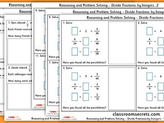 Year 6 Divide Fractions by Integers WRM Number Fractions Reasoning and Problem Solving