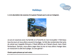 French - Holidays - GCSE-style activities