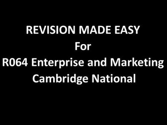 R064 Enterprise and marketing revision for OCR Cambridge National