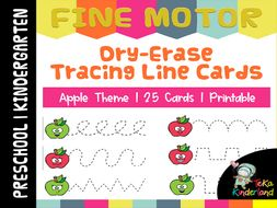 Apple Theme Tracing Lines Printable | Fine Motor Skill Activities TeKaKinderland