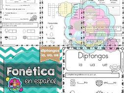 Spanish Phonics Book Set #14: Diptongos ia, ua, ue