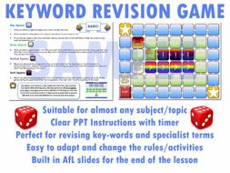 Key Word Revision Board Game (Template, PPT, AfL) [Full Revision Lesson for any Subject] (A3)