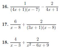 Adding and subtracting algebraic fractions (harder) worksheet no 2 (with solutions)