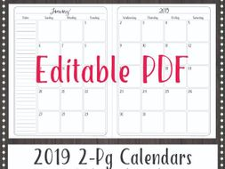 editable 2019 monthly calendar 2 page spread by gottaluvitcreations