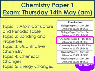 Chemistry Paper 1 Revision AQA Trilogy Higher