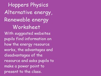 Alternative / Renewable energy research by Hoppers Physics