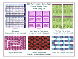 Future Simple Tense with Going To 6 Board Game Bundle