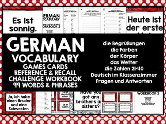 GERMAN VOCABULARY CARDS WITH REFERENCE & RECALL WORKBOOK #2