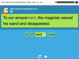 I can make nouns using suffixes (-ness, -ment, -er, or) - Interactive Activity - Year 3 Spag