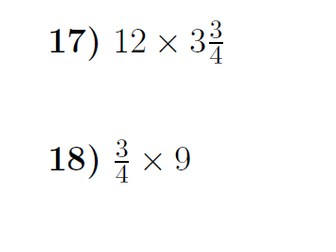 Multiplying fractions and mixed numbers by whole numbers worksheet (with solutions)