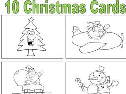 10 Christmas Cards to Colour and Fold