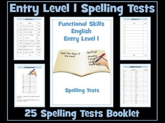 English Functional Skills - Entry Level 1 Spelling Tests
