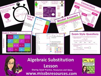 Substitution Lesson - Including Quizzes, Worksheet and Model Answers on Substituting .