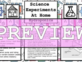 Science Home Experiment - Hydroponics (Plants with no soil)