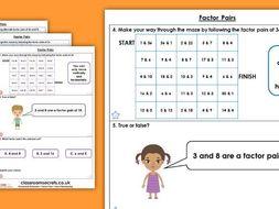 Year 4 Factor Pairs Spring Block 1 Maths Homework Extension