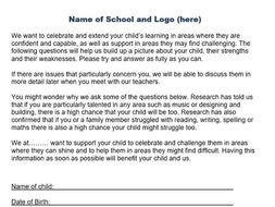 Preschool Questionnaire highlighting LD