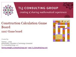 Construction Calculation Game Board 11x17