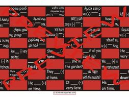 Past Simple Tense with Verb Be Checker Board Game