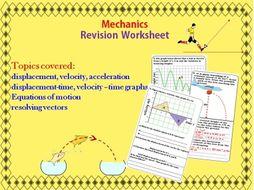 Mechanics Motion Revision Worksheet By Drkknaga Teaching