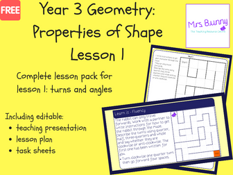 1. Geometry: turns and angles lesson pack (Y3)