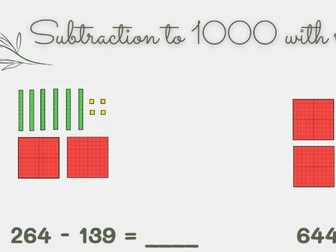3 digit subtraction to 1000 using dienes (with regrouping tens into ones)