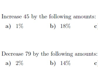 Percentage Increase Decrease (Using a multiplier) worksheet (with solutions)