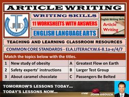 ARTICLE WRITING - 11 WORKSHEETS WITH ANSWERS