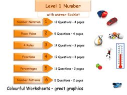 Numbers Workbook - Worksheet Booklet - Functional Skills Level 1 (with answers)
