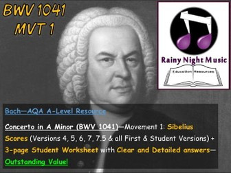 AQA A Level Music Bach Concerto in A Minor Analysis and Worksheet for Movement 1