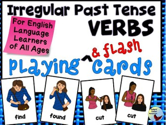 Irregular Past Tense Verbs Playing & Flash Cards ESL English Language Learners