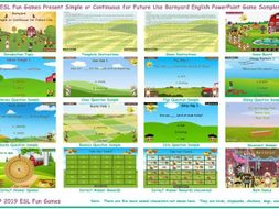 Present Simple or Continuous for Future Use Barnyard English PowerPoint Game