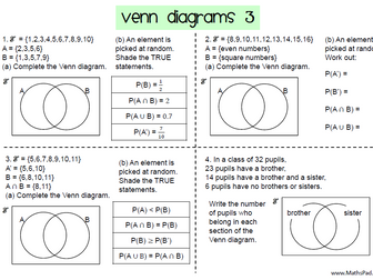 Venn Diagrams Worksheets for GCSE 9-1 Maths