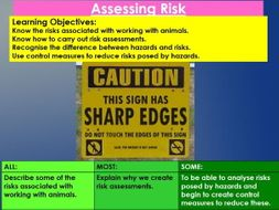 Animal Care, Unit 2, Lesson 1 - Assessing Hazards and Risks when working with animals