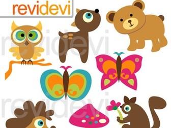 Woodland animals clip art.