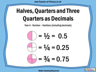Halves, Quarters and Three Quarters as Decimals - Year 4