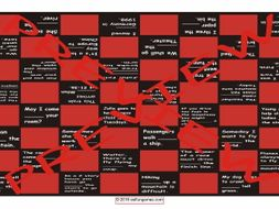 Prepositions of Movement Text Checker Board Game