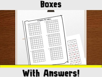 FREE Times Table Multiplication Boxes with Answers 6 Boxes One Sheet.