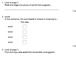 KS2 Reading SATs style Question Stems Question Types