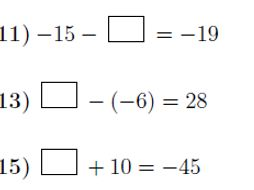Addition and subtraction of integers: Finding missing