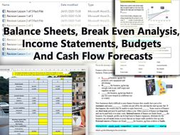 Balance Sheets, Budgets,Break Even, Cash Flow Forecast, Balance Sheets & Income Statements