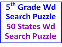 Fifth Grade Word Search Puzzle PLUS 50 States Word Search Puzzle (2 Puzzles)
