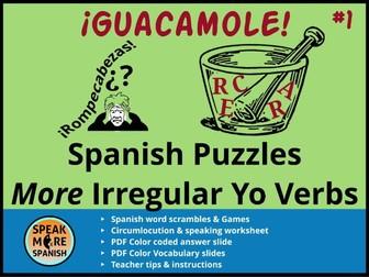 Spanish Puzzles & Games * More Irregular YO Verbs *Verbos Irregulares en la forma de YO en español