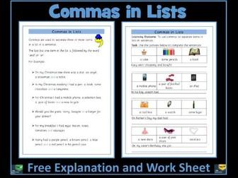 Commas in Lists Free Worksheet