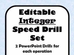 Integer Operations Fluency Drill - 10 editable PowerPoints