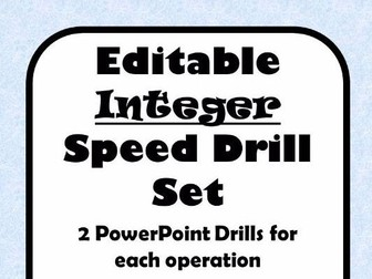Integer Operations Fluency Drill - 10 editable PowerPoints