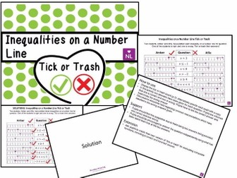 Inequalities on a Number Line (Tick or Trash)