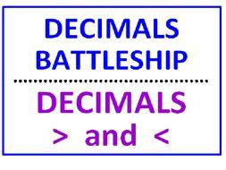 Decimals Battleship PLUS Decimals Greater Than Less Than (Comparing)